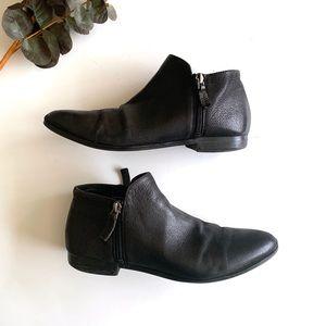 Franco Sarto Black Leather Almond Toe Booties